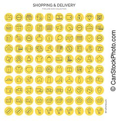 Set of shopping thin line web icon flat style on yellow circles. Vector design elements, business signs, logos, identity, labels and other branding objects for your business. Vector Illustration