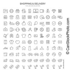 Set of shopping thin line web icon isolated on white background. Vector design elements, business signs, logos, identity, labels and other branding objects for your business. Vector Illustration
