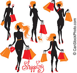 Set of Shopping woman silhouettes isolated on white background