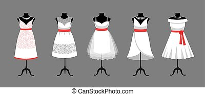 Set of short white wedding, evening, cocktail dresses in different styles.