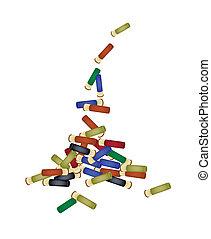 Set of Shotgun Shells on White Background - Gun Accessory, A...