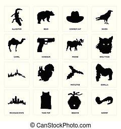 Set of shrimp, beehive, michigan state, mistletoe, , moose, camel, cowboy hat, alligator icons