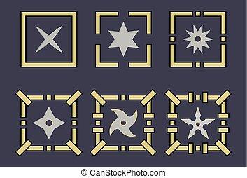 Set of shuriken icons. Ninja weapon. Samurai equipment. Cartoon style. Clean and modern vector illustration for design, web.