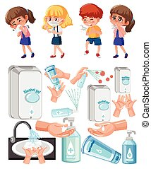 Set of sick children and alcohol gel on white background
