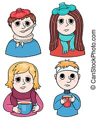 Set of sick children