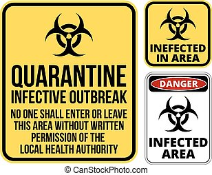 Set of sign biohazard quarantine area. Vector illustration