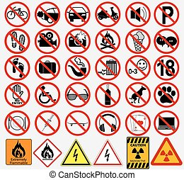 Set of  Signs for Different Prohibited Activities