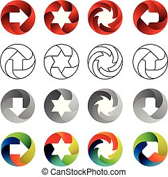 Set of signs, in the circular forms with the shadows inside. Arrows, stars, swirl in circle. Logo set, vector illustration