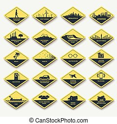 set of signs of attention, caution and danger