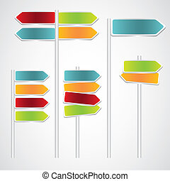 Set of Signs with arrows, red, green, blue and orange...