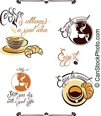 Set of signs with cups, croissant,  girl face, elements for Menu