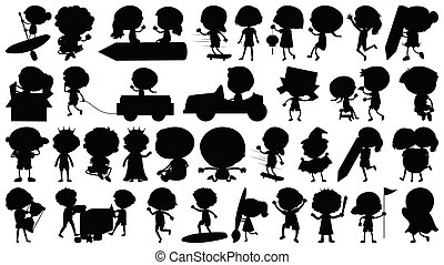 Set of sihouette isolated objects theme - children illustration