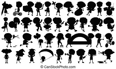 Set of sihouette isolated objects theme - kids doing activities illustration