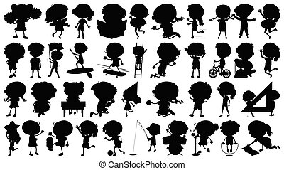 Set of sihouette isolated objects theme - kids in action illustration