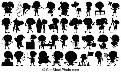 Set of sihouette isolated objects theme - kids in actions illustration