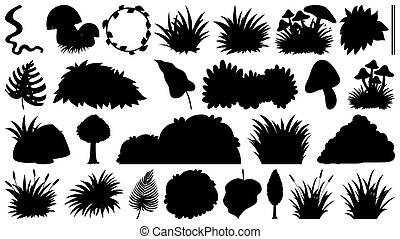 Set of sihouette isolated objects theme - plants illustration