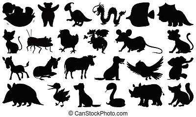 Set of sihouette isolated objects theme - wild animals illustration