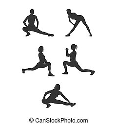 Set of silhouette athletes. Flat vector icon isolated on a white background