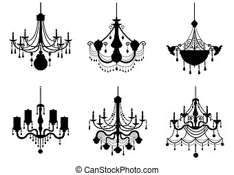 Set of silhouette chandelier