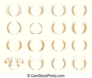 Set of silhouette circular laurel foliate and wheat wreaths.
