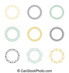 Set of silhouette circular laurel wreaths.