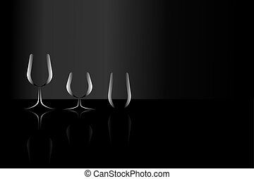 Set of silhouette clear glass with refection shadow on black surface background, right copy-space. Vector illustration