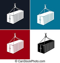 Silhouette Container with Crane Isolated
