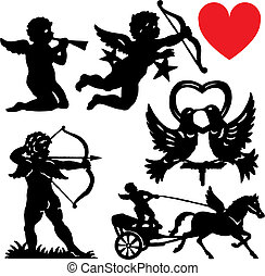 Set of silhouette Cupid