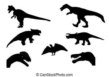 Set of Silhouette Dinosaur. Black Vector Illustration.
