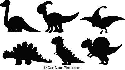 Set of silhouette dinosaur