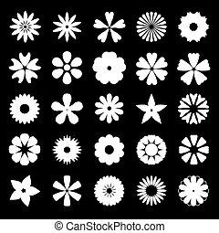 set of silhouette flat flower