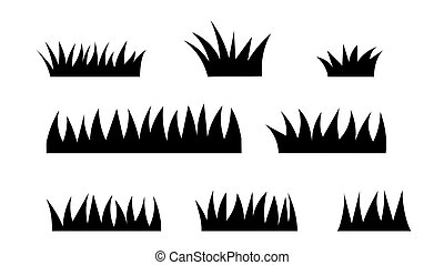 Set of silhouette grass isolated on white background. Vector illustration.