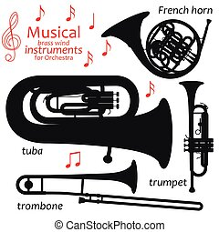 Set of silhouette icons. Musical brass wind instruments for orchestra. Vector illustration