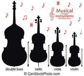 Set of silhouette icons. Musical stringed instruments for orchestra. Vector illustration