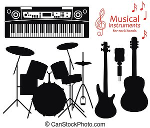 Set of silhouette icons. Musical instruments for rock bands. Vector illustration