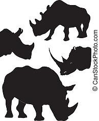 set of silhouette of rhinoceros