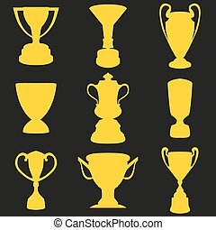 Set of silhouette of the Champions Cup. Icon vector illustration