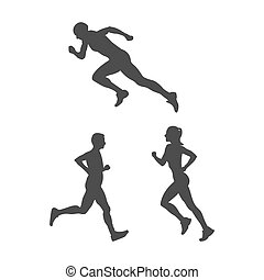 Set of silhouette running athletes. Flat vector icon isolated on a white background