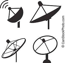 Set of silhouette satellite dish