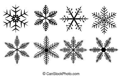 set of silhouette snowflakes on a white background