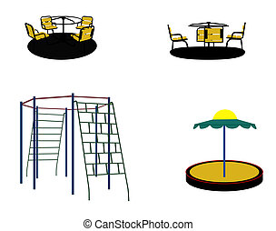 Set of Silhouette Swing Black on White Background. Vector Illustration.