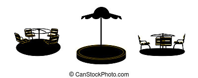 Set of Silhouette Swing Black on White Background. Vector Illustration.