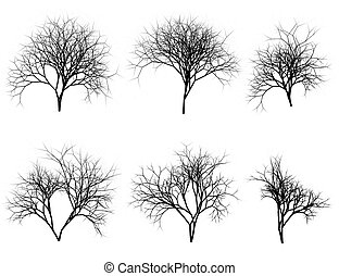 Set of silhouette trees on white background