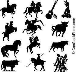 Set of silhouette typical spanish flamenco vector illustration Bullfighter, bull