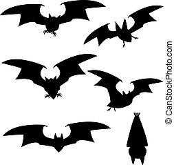 Set of silhouette vampire bat flying