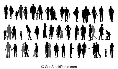 Set of Silhouette Walking People and Children. Vector ...