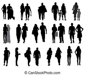 Set of Silhouette Walking People and Children. Vector...
