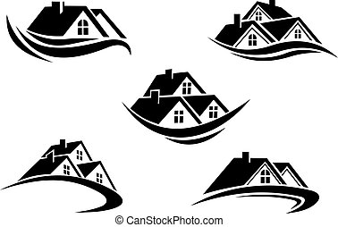 Set of silhouetted real estate icons - Black and white roof ...