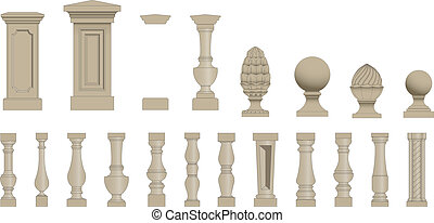 Set of silhouettes balusters - Set of random style balusters...