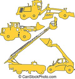Set of silhouettes  construction machinery. Vector illustration